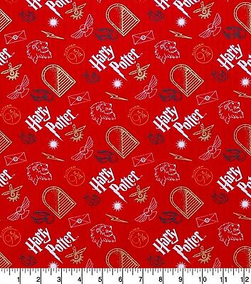 HARRY POTTER ARTIFACTS ON RED GOLD METALLIC  100% COTTON FABRIC BY THE 1/2 YARD