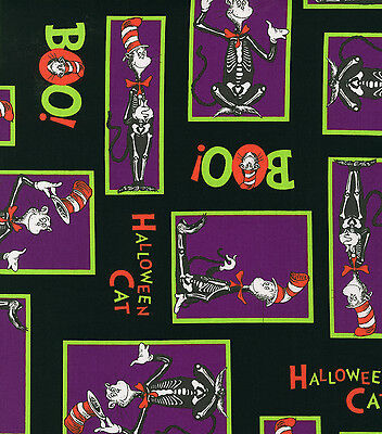Halloween Cat In The Hat (DR SEUSS CAT IN THE HAT HALLOWEEN  PRINT 100% COTTON FABRIC BY THE 1/2)