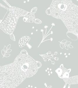 Cotton Nursery Flannel Fabric BTHY(1/2YD) - Magic Moon Woodland Animals Outline