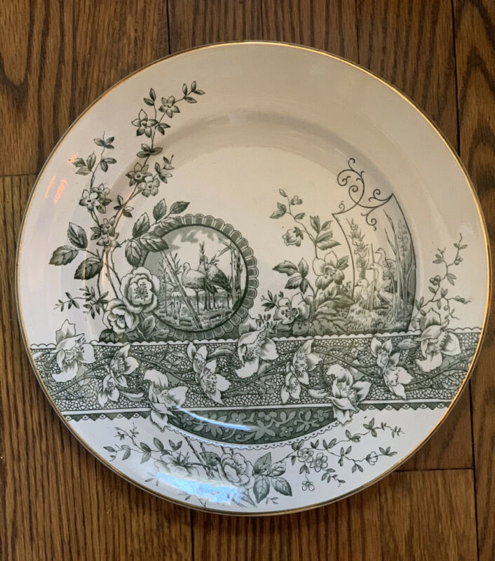 "1882 RARE Green Aesthetic Transferware 11"" plates Egrets ~ chatsworth WH BURSLEM"