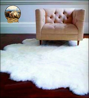 Soft White Shag Faux Fur Area Rug Large Sheepskin Pelt Desig