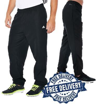 Mens Adidas All black Stanford Tracksuit Bottoms Sweat Pants Joggers Woven Pants
