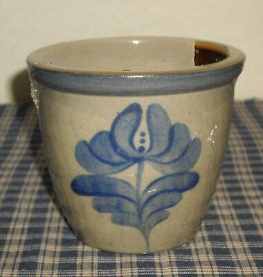 Beaumont Brothers Potterysalt Glazed Cobalt 4  Crock Gingerbread Candle New Usa