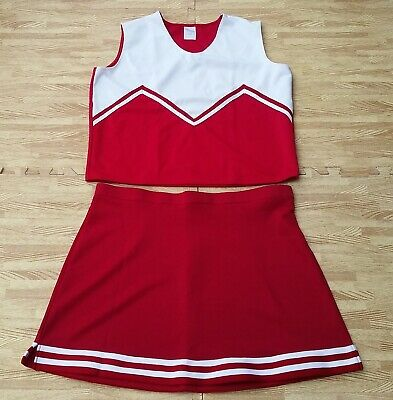 Plus Size Anime Cosplay (Adult Plus Size Red Cheerleader Uniform Top Skirt 42-44/36-37