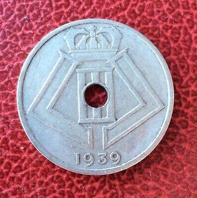 Belgique - Léopold III - Rare monnaie de 25 Centimes 1939  en  Frappe Médaille