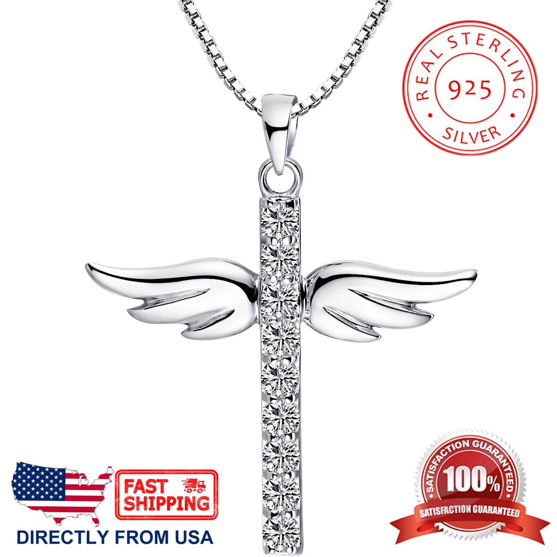 Women's Sterling Silver Cubic Zirconia Angel Wing Cross Pendant Necklace Fine Jewelry