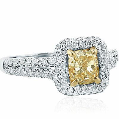 Yellow Cushion Halo Diamond 1.62 Ct Engagement Ring 18k White Gold Split Shank