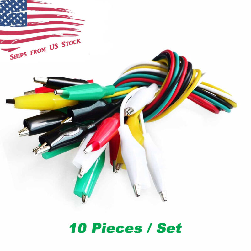 Test Lead Set with Alligator Clips 10 Pieces and 5 Colors 20.5 inches / 52cm US