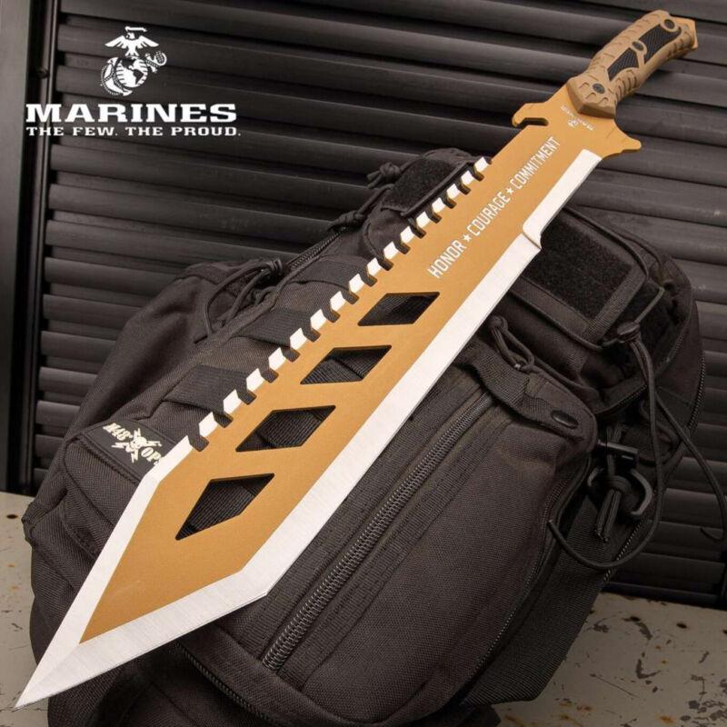 "24"" USMC Marines Desert OPS Full Tang Fixed Blade Machete Knife Hunting Tactical"
