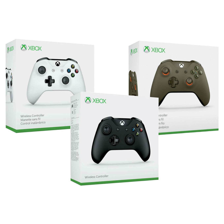 Xbox One S Microsoft Wireless Bluetooth Controller, Black, White, Green, Windows