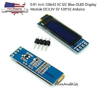 0.91 Inch 128x32 Iic I2c Blue Oled Display Module Dc3.3v 5v 12832 Arduino