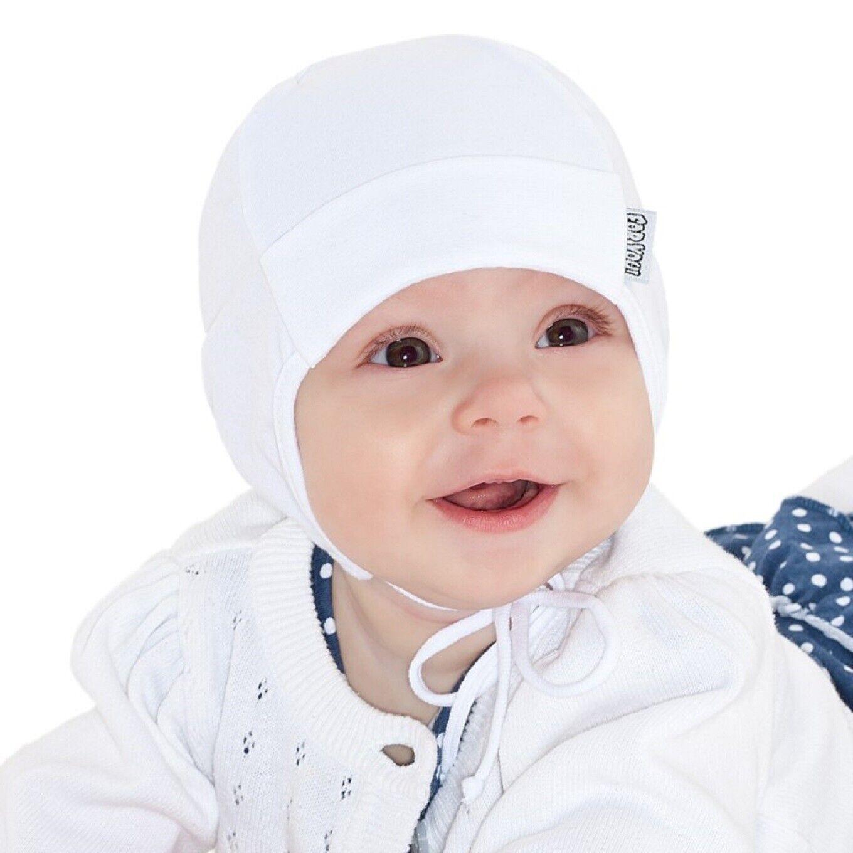 Baby Mütze Junge Mädchen Weiß Erstlingsmütze Taufe Gr.36/38 Dünne Baumwolle Neu