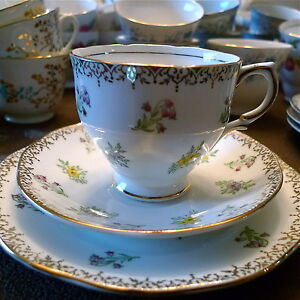 Vintage China Tea Cup, Saucer and Side Plate trios