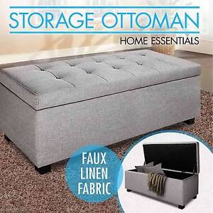Blanket Box Ottoman Storage Linen Fabric Foot Stool Light Grey Perth Perth City Area Preview