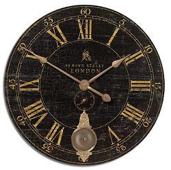 Bond Street 30 Black Wall Clock by Uttermost #06030