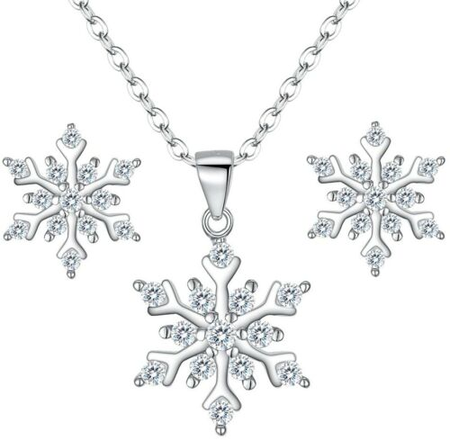 925 sterling silver cubic zirconia snowflake pendant