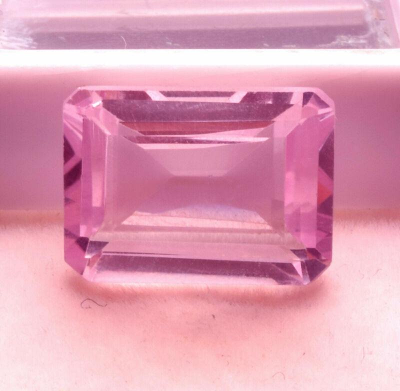 9.70 Cts Natural Kunzite Rose Pink Color Emerald Cut Certified Gemstone