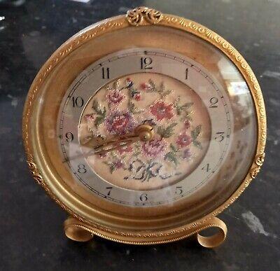Vintage Petit Point  Gilt Metal Dressing Table  Clock.  WORKING
