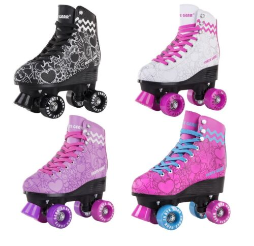 USED Graphic Roller Skate Kid Youth Adult Men Women Size Black Purple White