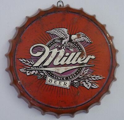 New Big Retro Vintage Miller Beer Metal Bottle Top Sign Tin Wall Hanging Plaque