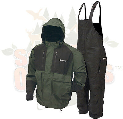 MD Frogg Toggs Forest Green Firebelly Jacket & Black Toadskin Bibs Rain Suit