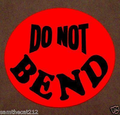 250 Do Not Bend Label Sticker Big 1 12 1.5 Round Circle