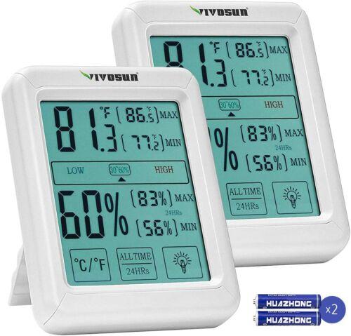 2pcsVIVOSUN Thermometer Indoor Digital LCD Hygrometer Temperature Humidity Meter