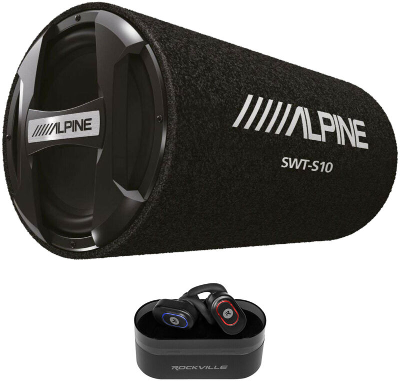 "ALPINE SWT-S10 1200w 10"" Car Audio Subwoofer in Bass Tube+Wireless EarBuds"