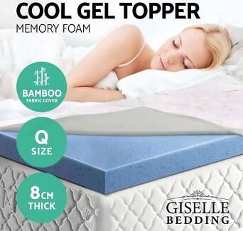 GEL Memory Foam Mattress Topper BAMBOO Fabric Cover Queen