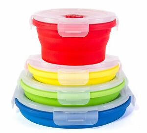 Thin Bins Food Storage Containers   Set Of Collapsible Silicone W/ Airtight  Lids