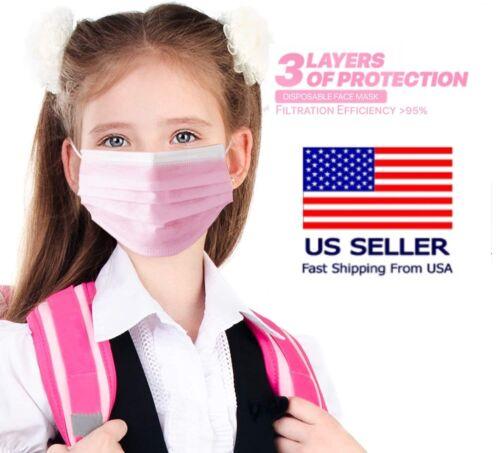 50/100 Pcs Kids Unisex Pink Face Mask Mouth & Nose Protector Respirator Masks