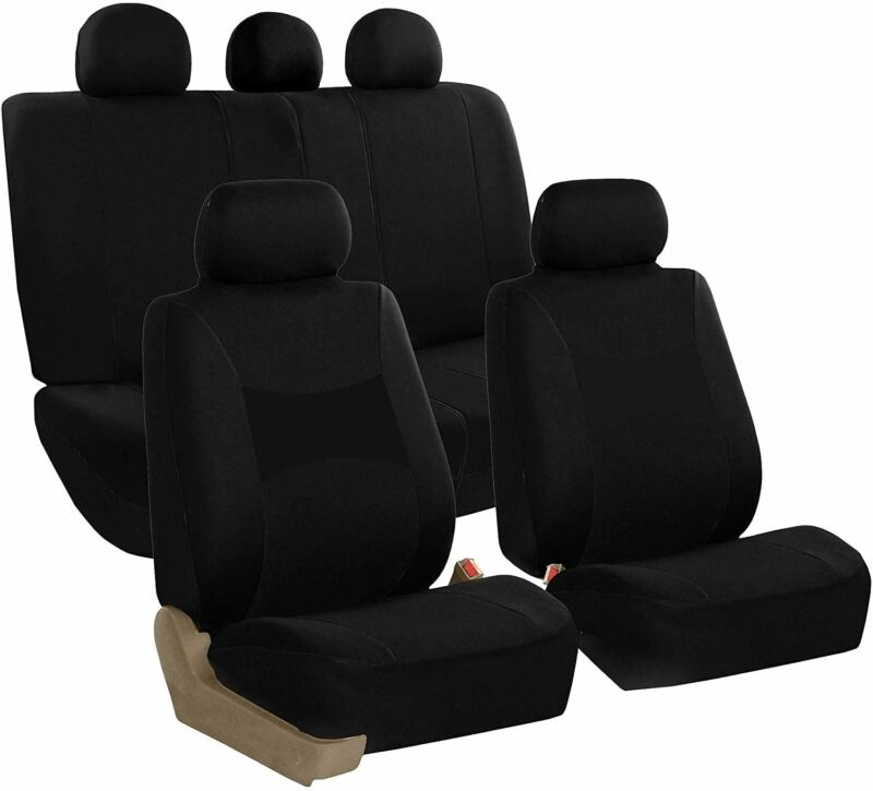 FH Group FB030BLACK115 Full Set Seat Cover (Side Airbag Compatible with Split Be