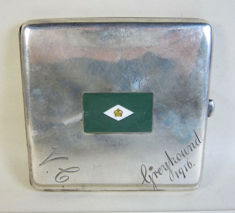 1916 WWI Unknown English Sterling Cigarette Case Greyhound Flag 4.6-ozt (145g)