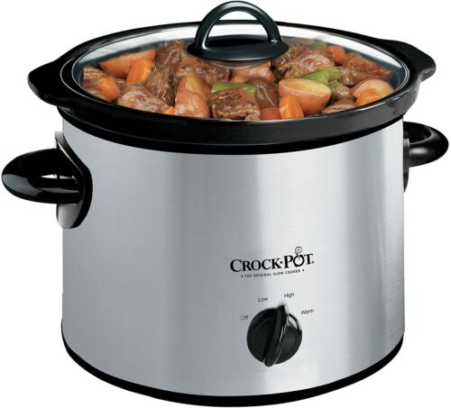 3-Quart Round Manual Slow Cooker, Stainless Steel and Black - SCR300-SS