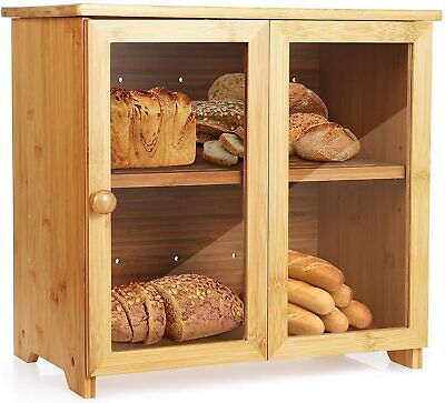 Bamboo Wood Bread Box Roll Top Large Kitchen Storage Containers Loaf Storage Bin