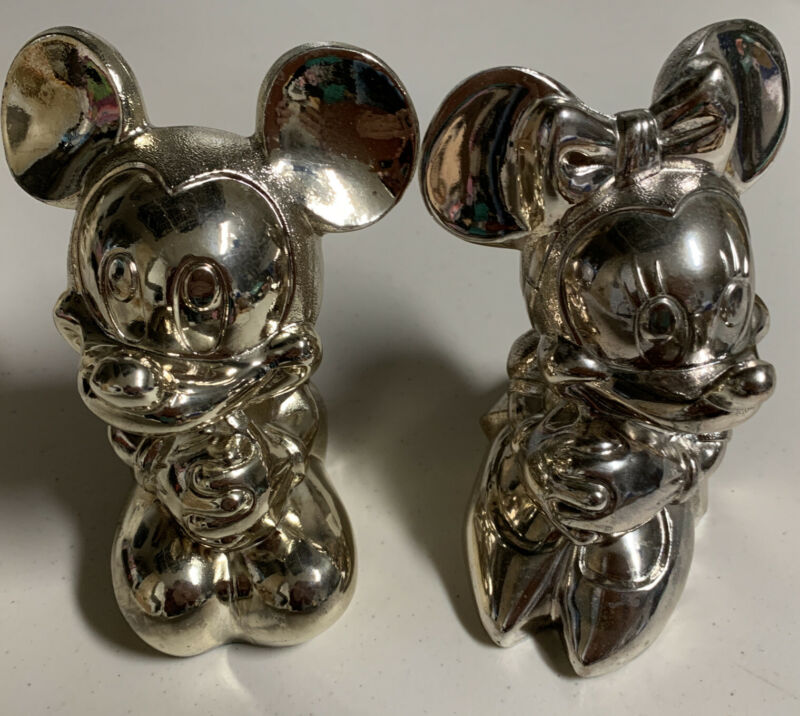Disney 1989 Reed & Barton Mickey & Minnie Mouse Silverplated Banks