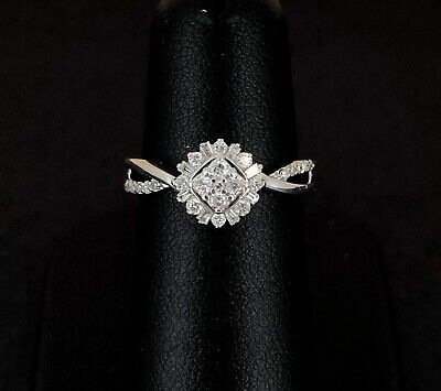 (Pa2) Pretty 9ct White Gold 0.25ct Diamond Cluster Ring 1.9gms (1007111-1-A)