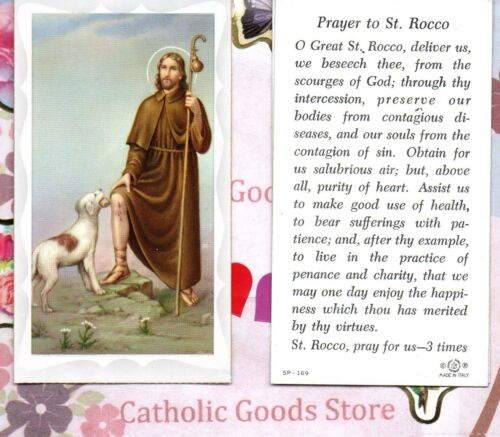 Saint St. Rocco with Prayer to St Rocco  - Paperstock Holy Card