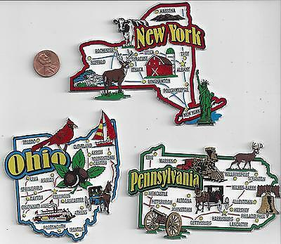 OHIO  PENNSYLVANIA  NEW YORK  JUMBO  STATE  MAP  MAGNETS    NEW USA  3 MAGNETS
