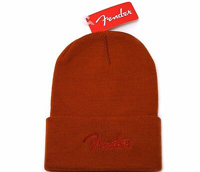 910-6626-306 Fender® Guitar Hat Watchcap Knit Logo Tobbogan One Size Dark  Orange a5ea39843018