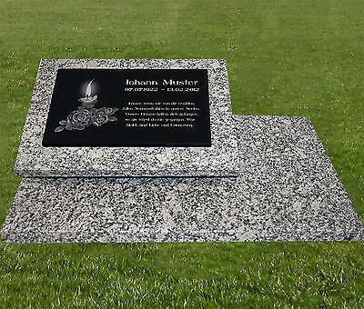Grabstein Grabplatte Grabmal Gedenkstein - Granit - Wunsch Gravur 60x40cm -gg48s