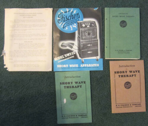 Vintage Fischer  therapy Medical device short wave instructions books lot,1930