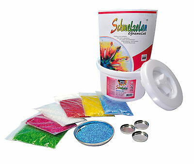 Schmelzolan Starter Set Granulat 6 Farben in einem praktischen Eimer (112-98)