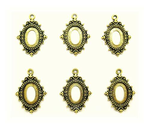 6 Antiqued Goldtone ENCHANTED 18mm x 13mm CAMEO PENDANT or Earrings Settings
