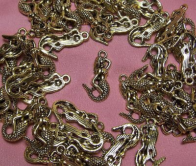 50 GOLD METAL MERMAID CHARMS-PENDANTS-FINDINGS-JEWELRY MAKING SUPPLIES LOT