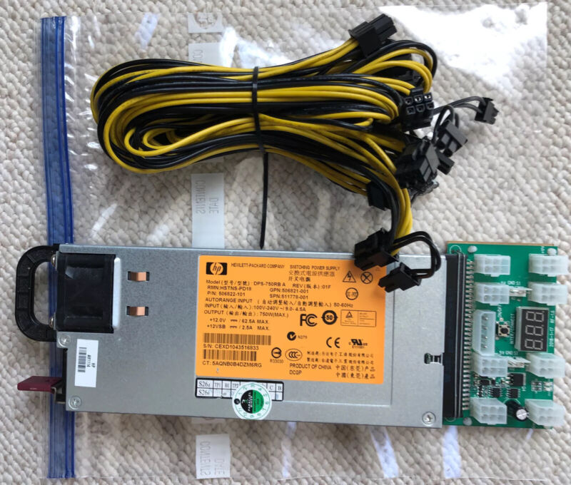 HP DPS-750RB A Switching Power Supply HSTNS-PD18 with Daughter Board for Mining