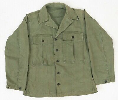 VTG WW2 US Army Herringbone HBT Utility/Combat Shirt Jacket Pleated Shoulders