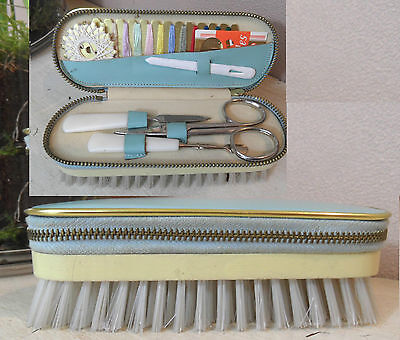 Vintage German Multi Brush with Manicure Set and Sewing Kit Camping like 1955
