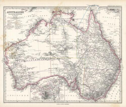 1884 Steiler Map: Australia