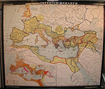 Schulwandkarte Wandkarte Latein Schulkarte map Imperium Romanum Rom 198x170 1967